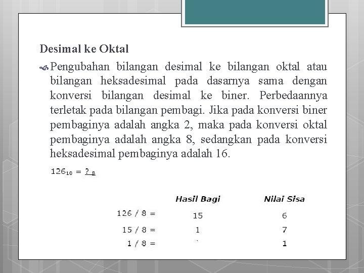Desimal ke Oktal Pengubahan bilangan desimal ke bilangan oktal atau bilangan heksadesimal pada dasarnya