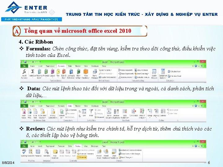 A Tổng quan về microsoft office excel 2010 4. Các Ribbon v Formulas: Chèn