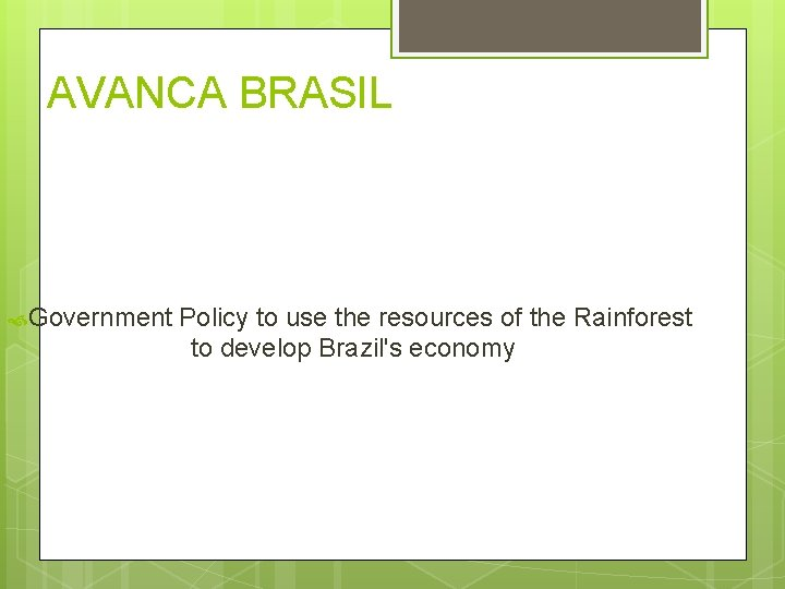 AVANCA BRASIL Government Policy to use the resources of the Rainforest to develop Brazil's