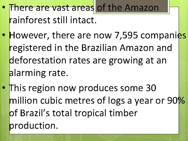 • There are vast areas of the Amazon rainforest still intact. • However,