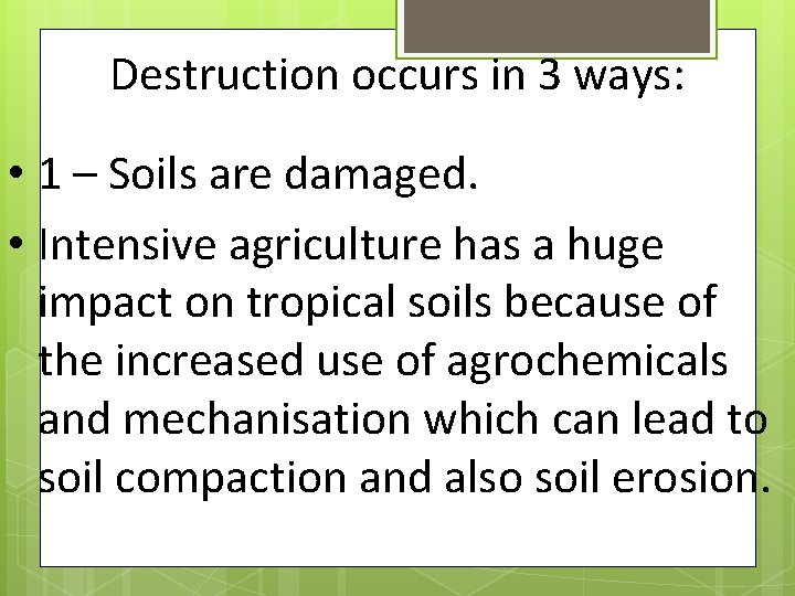 Destruction occurs in 3 ways: • 1 – Soils are damaged. • Intensive agriculture