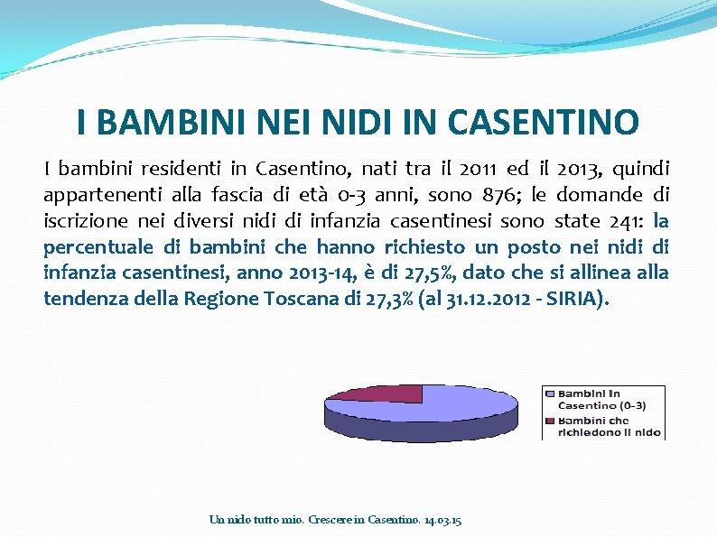 I BAMBINI NEI NIDI IN CASENTINO I bambini residenti in Casentino, nati tra il