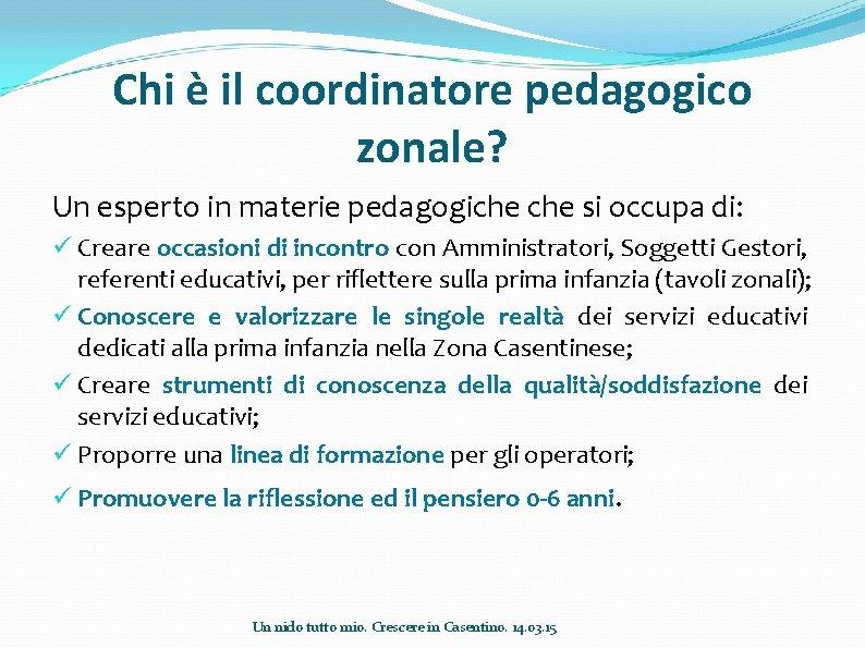 Chi è il coordinatore pedagogico zonale? Un esperto in materie pedagogiche si occupa di: