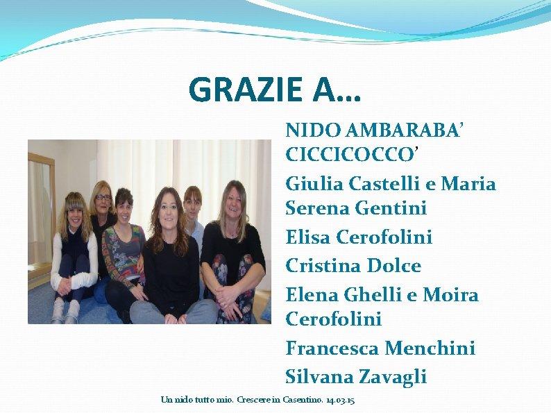 GRAZIE A… NIDO AMBARABA' CICCICOCCO' Giulia Castelli e Maria Serena Gentini Elisa Cerofolini Cristina