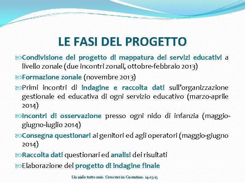 LE FASI DEL PROGETTO Condivisione del progetto di mappatura dei servizi educativi a livello