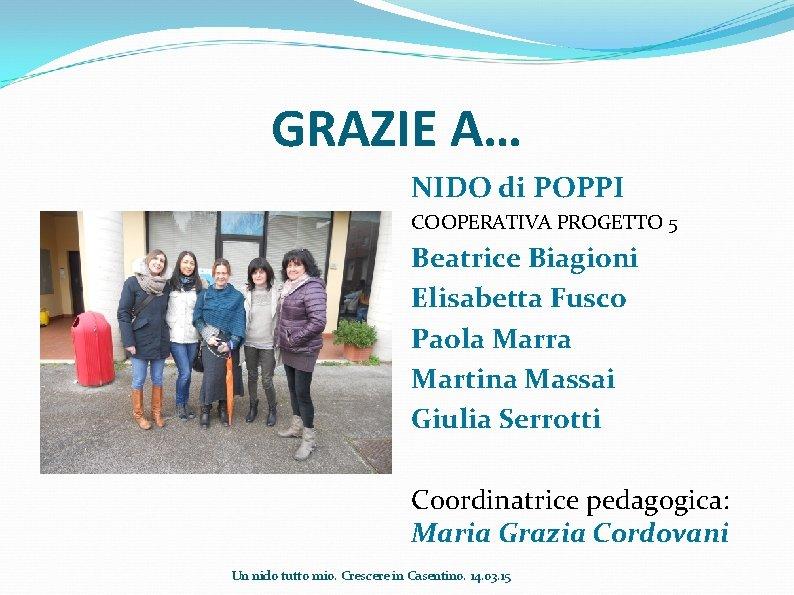 GRAZIE A… NIDO di POPPI COOPERATIVA PROGETTO 5 Beatrice Biagioni Elisabetta Fusco Paola Marra