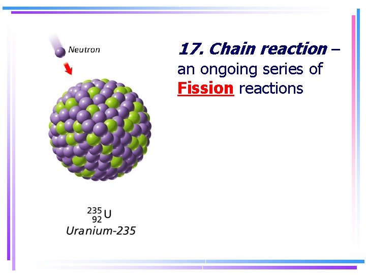 17. Chain reaction – an ongoing series of Fission reactions