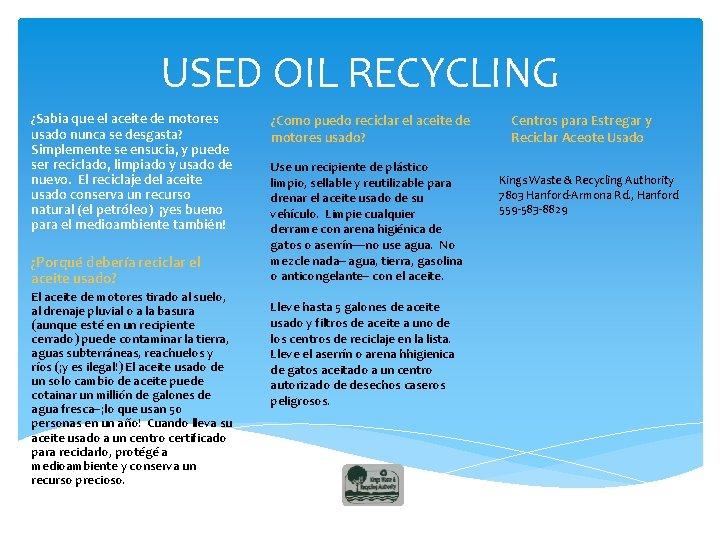 USED OIL RECYCLING ¿Sabia que el aceite de motores usado nunca se desgasta? Simplemente