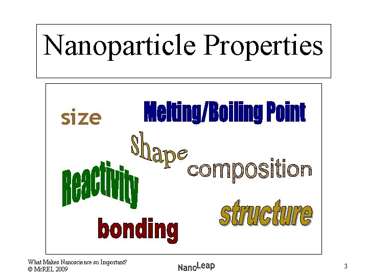 Nanoparticle Properties size What Makes Nanoscience so Important? © Mc. REL 2009 3