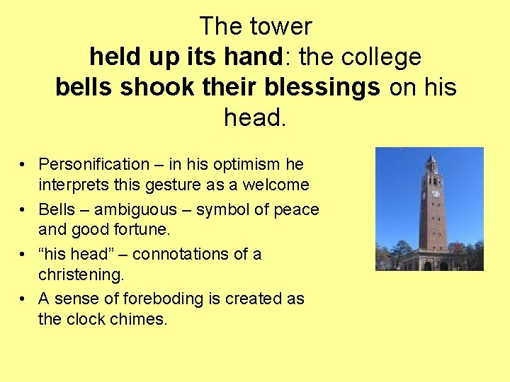 The tower held up its hand: the college bells shook their blessings on his