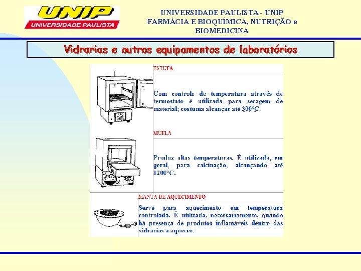 UNIVERSIDADE PAULISTA - UNIP FARMÁCIA E BIOQUÍMICA, NUTRIÇÃO e BIOMEDICINA Vidrarias e outros equipamentos