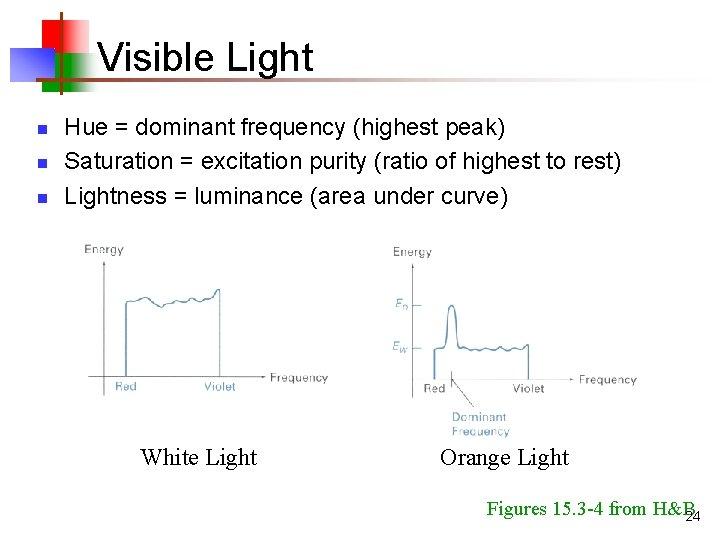 Visible Light n n n Hue = dominant frequency (highest peak) Saturation = excitation