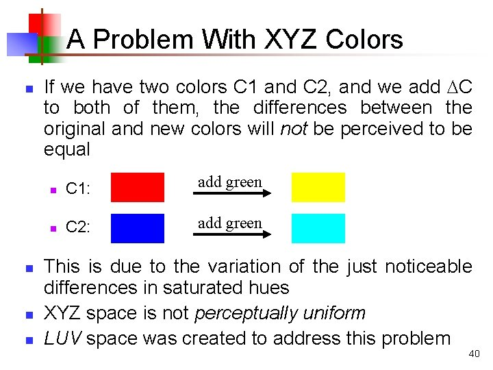 A Problem With XYZ Colors n n If we have two colors C 1