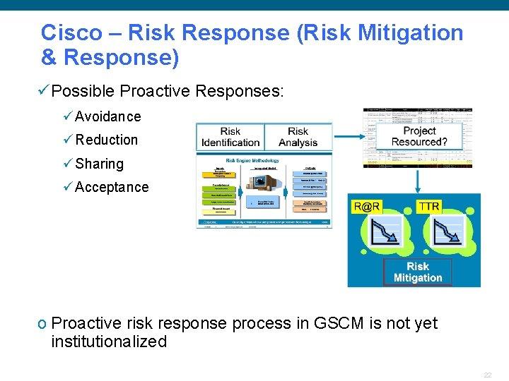 Cisco – Risk Response (Risk Mitigation & Response) üPossible Proactive Responses: ü Avoidance ü