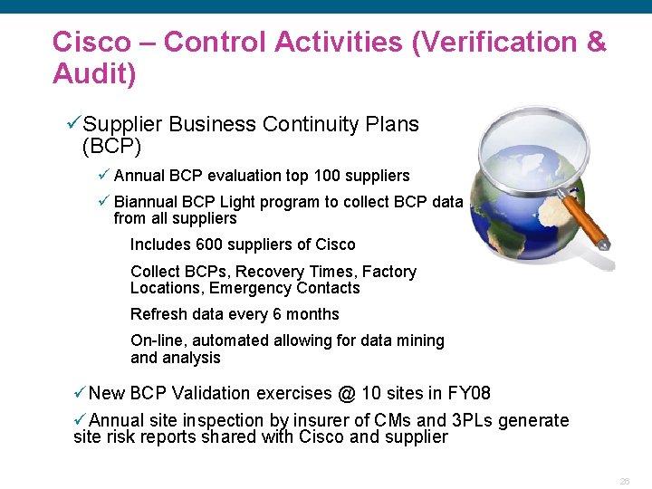 Cisco – Control Activities (Verification & Audit) üSupplier Business Continuity Plans (BCP) ü Annual