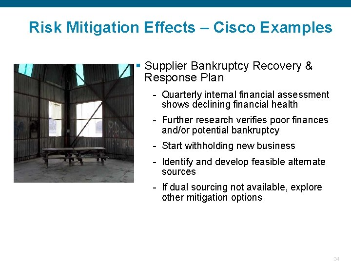 Risk Mitigation Effects – Cisco Examples § Supplier Bankruptcy Recovery & Response Plan -