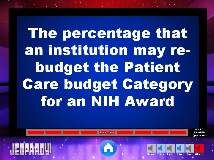 The percentage that an institution may rebudget the Patient Care budget Category for an