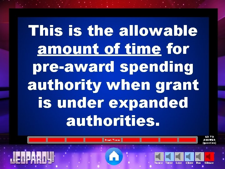 This is the allowable amount of time for pre-award spending authority when grant is
