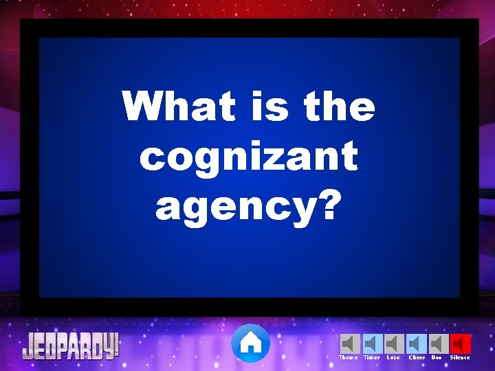 What is the cognizant agency? Theme Timer Lose Cheer Boo Silence