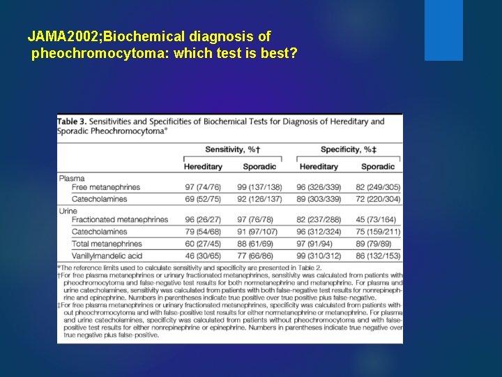 JAMA 2002; Biochemical diagnosis of pheochromocytoma: which test is best?
