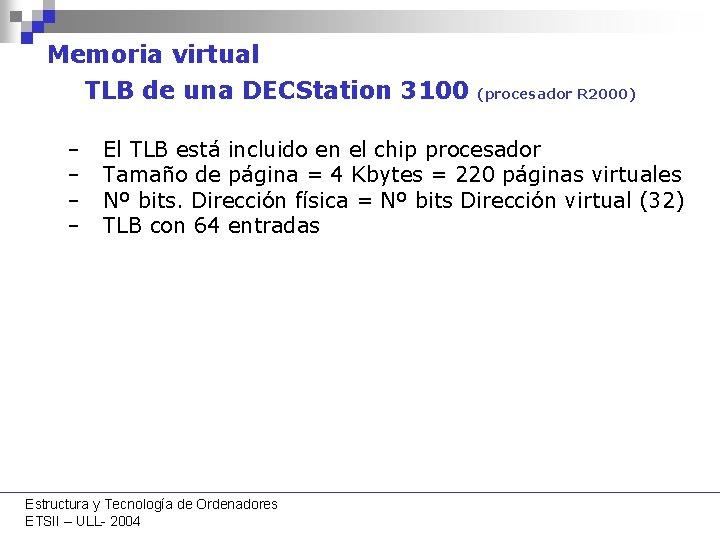 Memoria virtual TLB de una DECStation 3100 – – (procesador R 2000) El TLB
