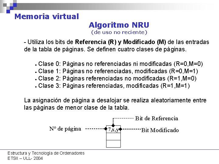 Memoria virtual Algoritmo NRU (de uso no reciente) - Utiliza los bits de Referencia