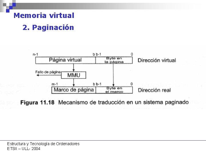 Memoria virtual 2. Paginación Estructura y Tecnología de Ordenadores ETSII – ULL- 2004