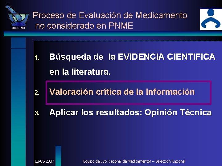 DIGEMID Proceso de Evaluación de Medicamento no considerado en PNME 1. Búsqueda de la