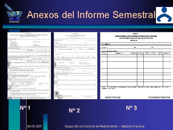 Anexos del Informe Semestral DIGEMID Nº 1 08 -05 -2007 Nº 2 Nº 3