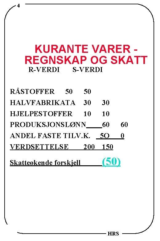 4 KURANTE VARER REGNSKAP OG SKATT R-VERDI S-VERDI RÅSTOFFER 50 50 HALVFABRIKATA 30 30
