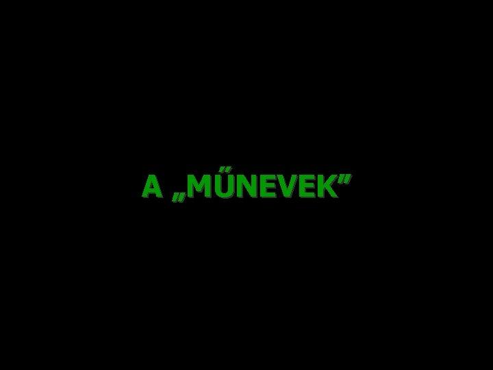 """A """"MŰNEVEK"""""""
