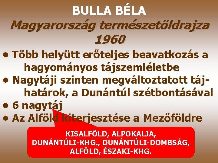 BULLA BÉLA Magyarország természetöldrajza 1960 • Több helyütt erőteljes beavatkozás a hagyományos tájszemléletbe •