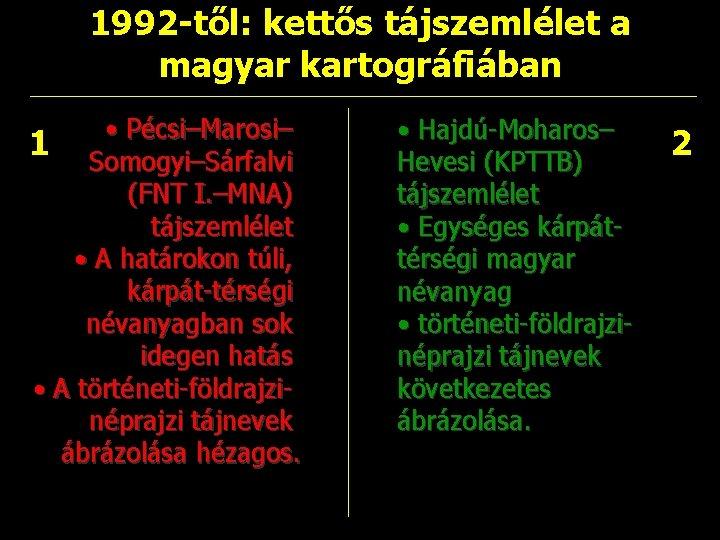 1992 -től: kettős tájszemlélet a magyar kartográfiában • Pécsi–Marosi– 1 Somogyi–Sárfalvi (FNT I. –MNA)