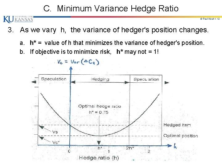 C. Minimum Variance Hedge Ratio © Paul Koch 1 -12 3. As we vary