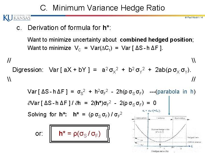 C. Minimum Variance Hedge Ratio © Paul Koch 1 -14 c. Derivation of formula