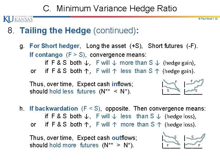 C. Minimum Variance Hedge Ratio © Paul Koch 1 -22 8. Tailing the Hedge