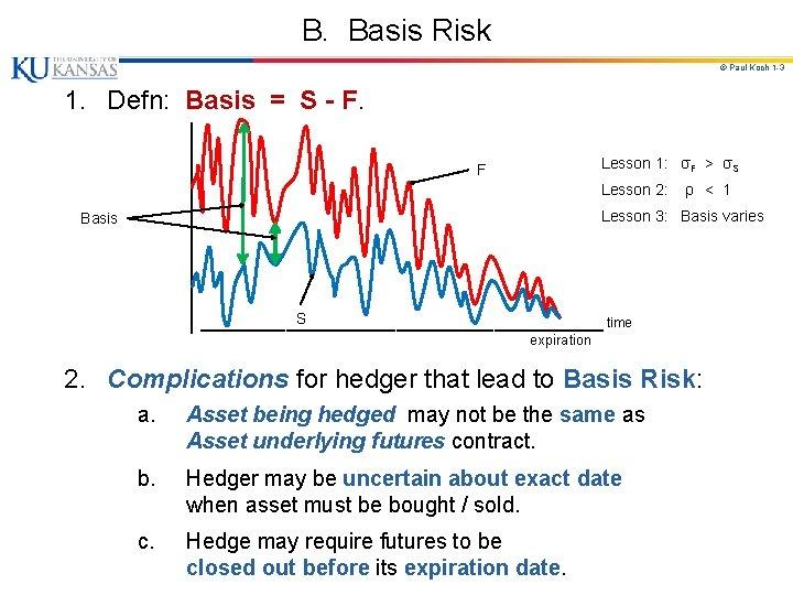 B. Basis Risk © Paul Koch 1 -3 1. Defn: Basis = S -