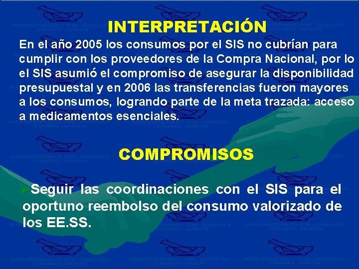 INTERPRETACIÓN En el año 2005 los consumos por el SIS no cubrían para cumplir