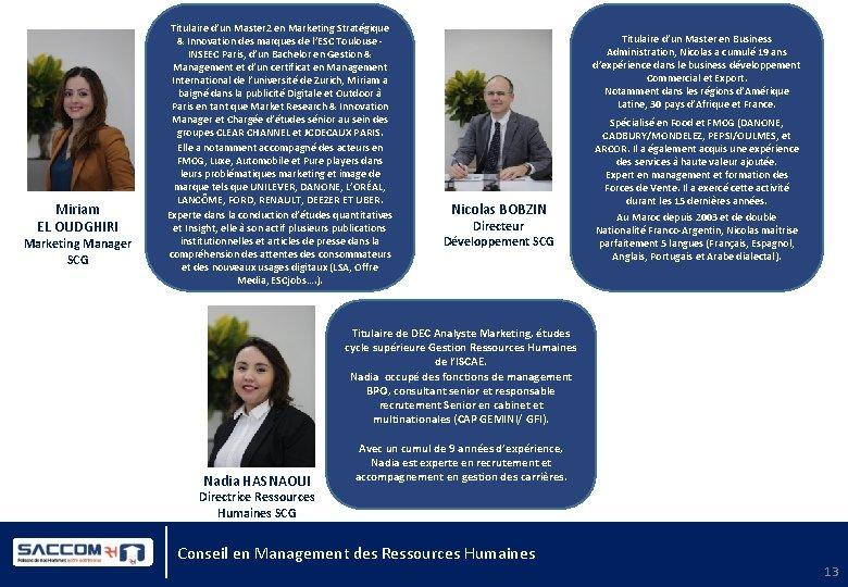 Miriam EL OUDGHIRI Marketing Manager SCG Titulaire d'un Master 2 en Marketing Stratégique &