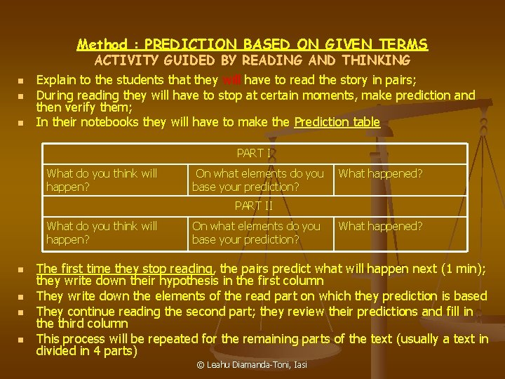 Method : PREDICTION BASED ON GIVEN TERMS ACTIVITY GUIDED BY READING AND THINKING n
