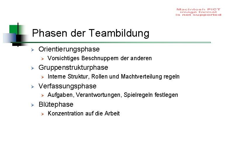 Phasen der Teambildung Ø Orientierungsphase Ø Ø Gruppenstrukturphase Ø Ø Interne Struktur, Rollen und