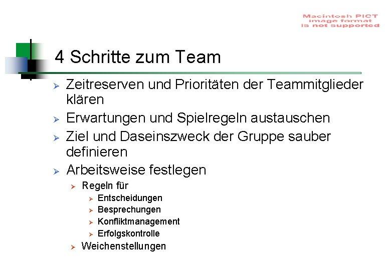 4 Schritte zum Team Ø Ø Zeitreserven und Prioritäten der Teammitglieder klären Erwartungen und