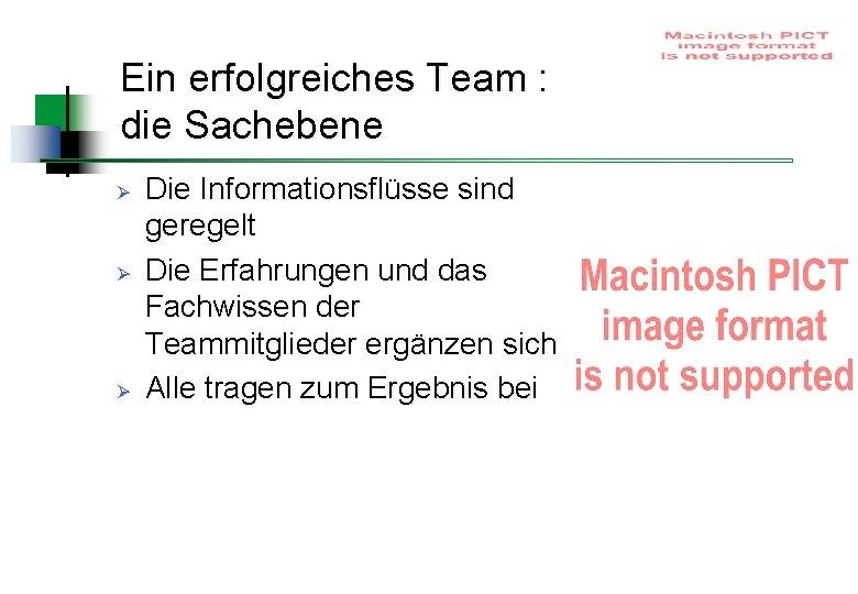 Ein erfolgreiches Team : die Sachebene Ø Ø Ø Die Informationsflüsse sind geregelt Die