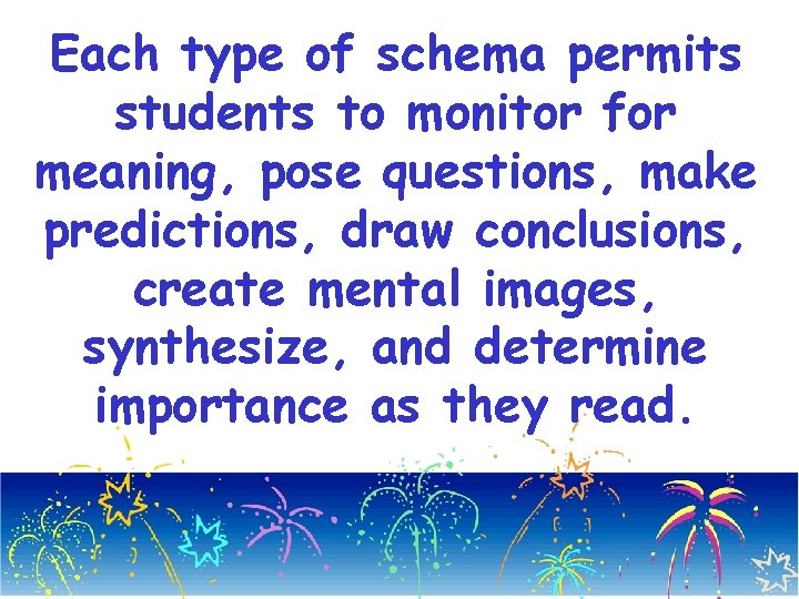 Each type of schema permits students to monitor for meaning, pose questions, make predictions,