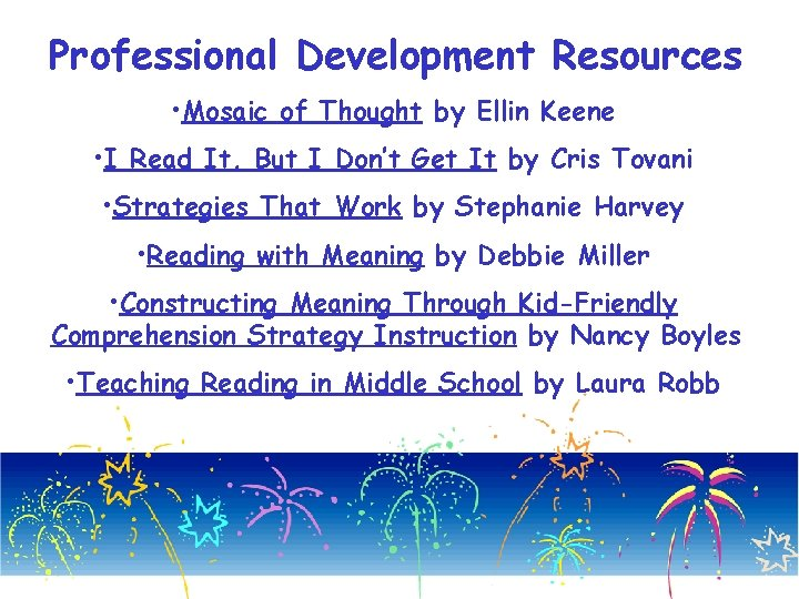 Professional Development Resources • Mosaic of Thought by Ellin Keene • I Read It,