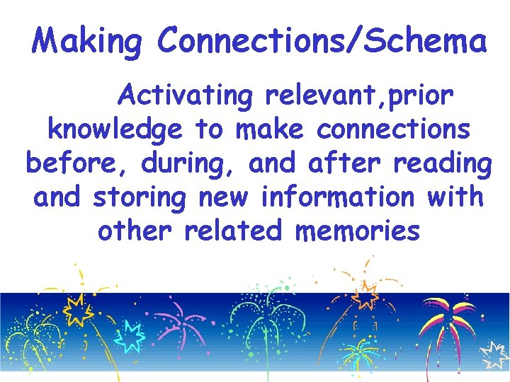 Making Connections/Schema Activating relevant, prior knowledge to make connections before, during, and after reading