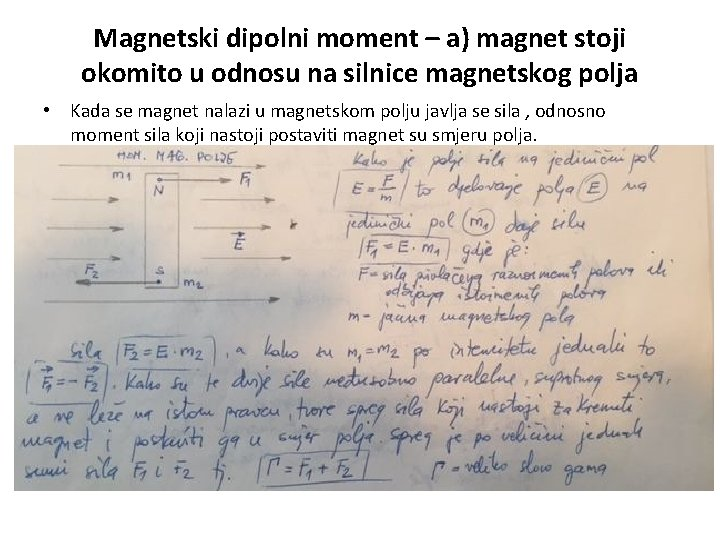 Magnetski dipolni moment – a) magnet stoji okomito u odnosu na silnice magnetskog polja