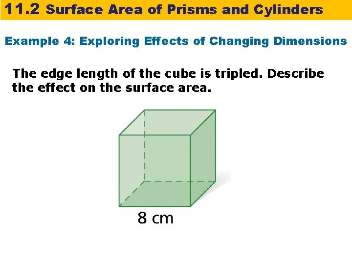 11. 2 Surface Area of Prisms and Cylinders Example 4: Exploring Effects of Changing