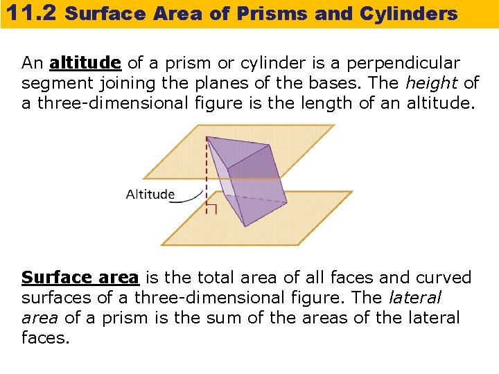 11. 2 Surface Area of Prisms and Cylinders An altitude of a prism or