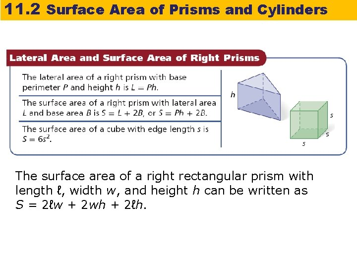 11. 2 Surface Area of Prisms and Cylinders The surface area of a right
